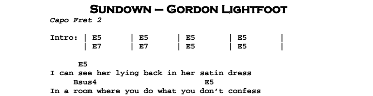 Gordon Lightfoot – Sundown Chords & Songsheet