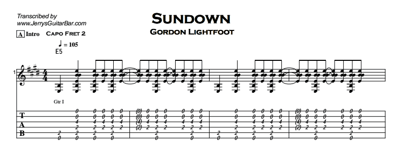 Gordon Lightfoot – Sundown Tab