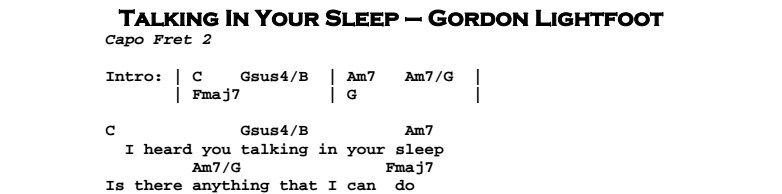 Gordon Lightfoot – Talking In Your Sleep Chords & Songsheet