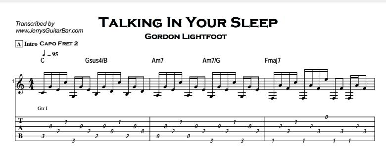 Gordon Lightfoot – Talking In Your Sleep Tab