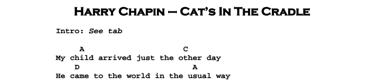 Harry Chapin - Cat's In The Cradle Chords & Songsheet
