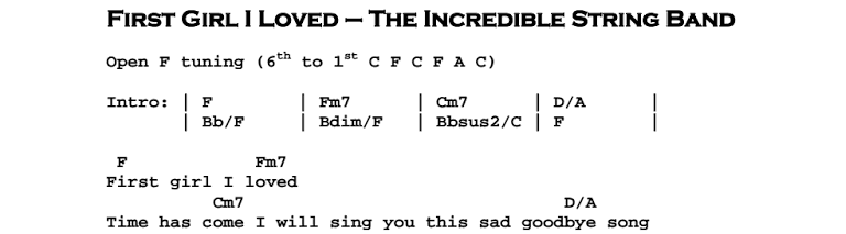 The Incredible String Band – First Girl I Loved Chords & Songsheet