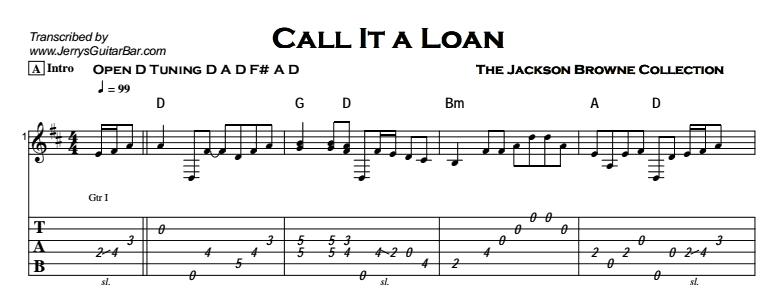 Jackson Browne - Call It a Loan Tab