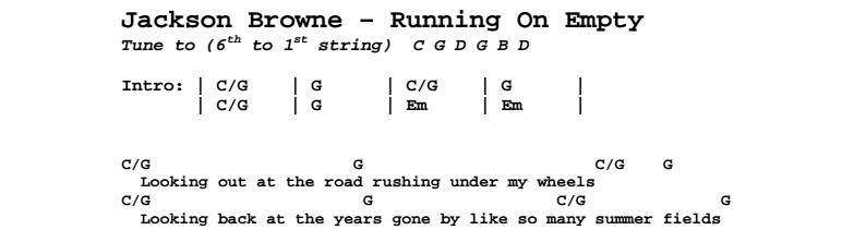 Jackson Browne - Running On Empty Chords & Songsheet