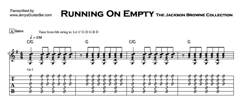 Jackson Browne - Running On Empty Tab