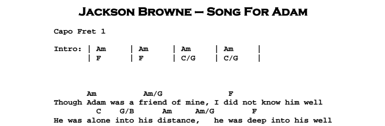 Jackson Browne - Song For Adam Chords & Songsheet
