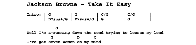 Jackson Browne - Take It Easy Chords & Songsheet
