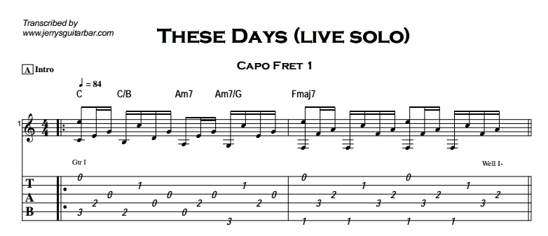 These Days (live solo version) | Guitar Lesson, Tab & Chords | JGB