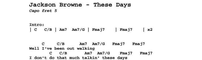 Jackson Browne - These Days (studio version) Chords & Songsheet