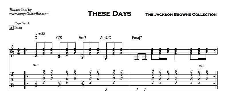 Jackson Browne - These Days (studio version) Tab