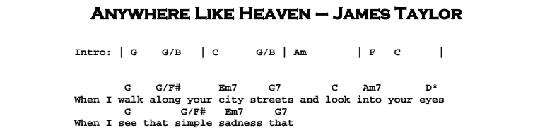 James Taylor – Anywhere Like Heaven Chords & Songsheet