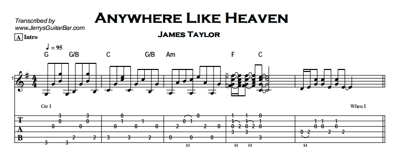 James Taylor – Anywhere Like Heaven Tab