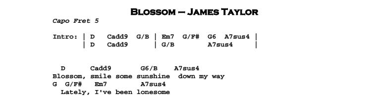 James Taylor - Blossom Chords & Songsheet