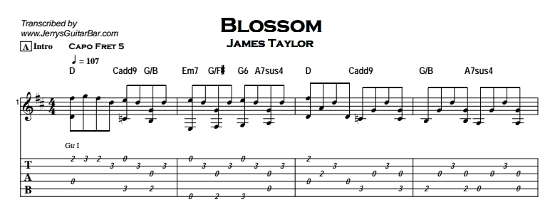 Blossom | Guitar Lesson, Tab & Chords | Jerry\'s Guitar Bar