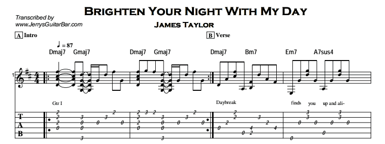 James Taylor – Brighten Your Night With My Day Tab