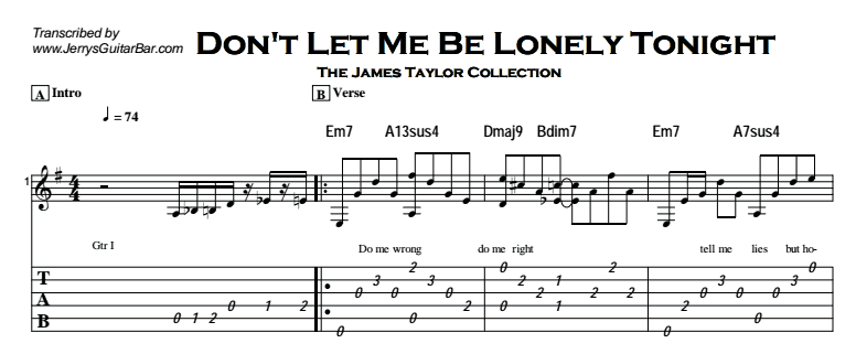 James Taylor - Don't Let Me Be Lonely Tonight Tab