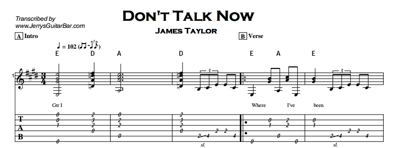 James Taylor – Don't Talk Now Tab