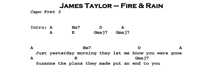James Taylor - Fire and Rain Chords & Songsheet