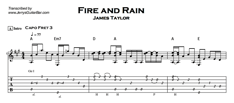 James Taylor - Fire and Rain Tab