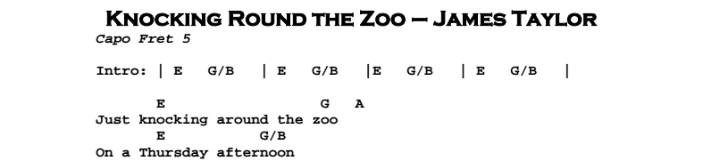 James Taylor – Knocking Round The Zoo Chords & Songsheet