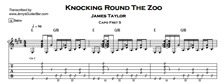 James Taylor – Knocking Round The Zoo Tab