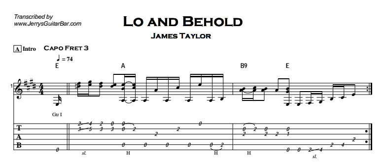 James Taylor - Lo And Behold Tab