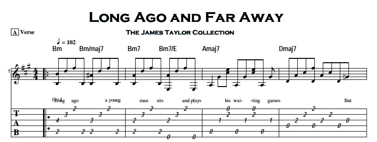 James Taylor - Long Ago and Far Away Tab