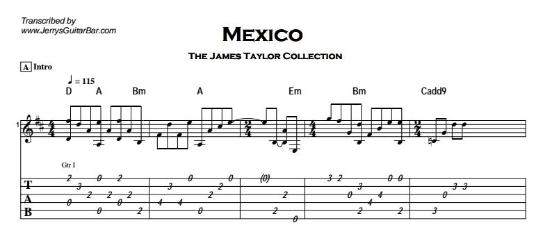 James Taylor - Mexico Tab