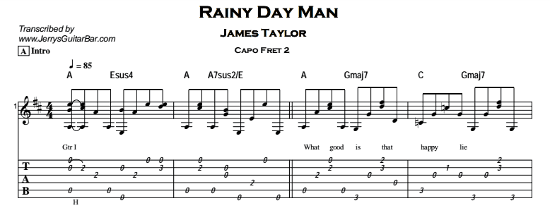 James Taylor – Rainy Day Man Tab