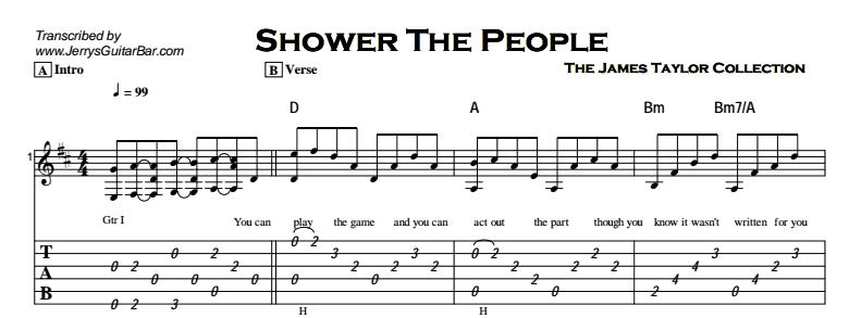 James Taylor - Shower The People Tab
