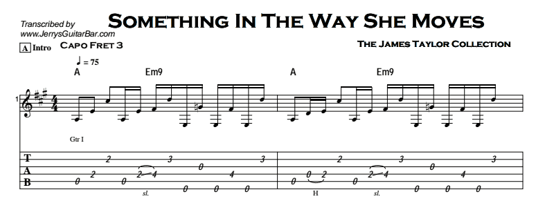 James Taylor - Something In The Way She Moves - Jerry\'s Guitar Bar