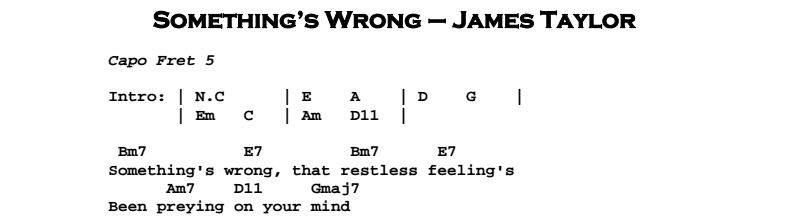 James Taylor – Something's Wrong Chords & Songsheet