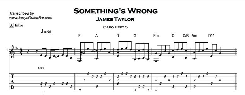 James Taylor – Something's Wrong Tab