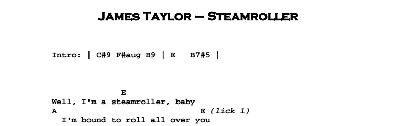 James Taylor - Steamroller Chords & Songsheet