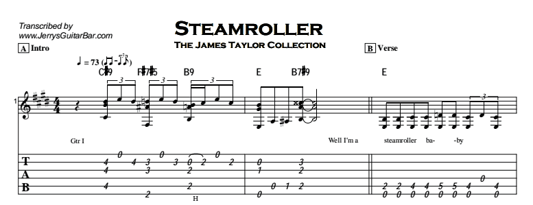 James Taylor - Steamroller Tab