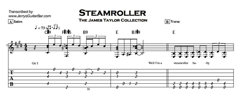 James Taylor - Steamroller | Guitar Lesson, Tab & Chords | JGB