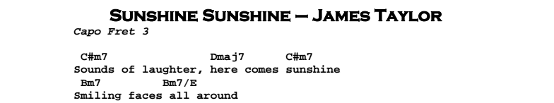 James Taylor – Sunshine Sunshine Chords & Songsheet