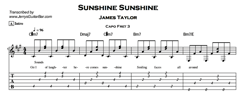 James Taylor – Sunshine Sunshine Tab