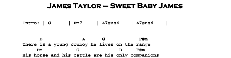 James Taylor - Sweet Baby James Chords & Songsheet
