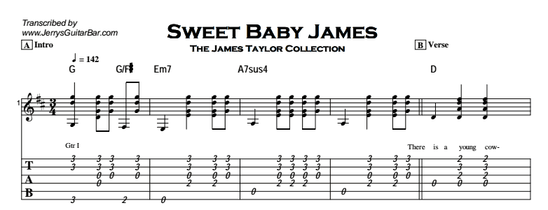 James Taylor - Sweet Baby James Tab