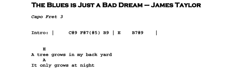 James Taylor – The Blues is Just a Bad Dream Chords & Songsheet
