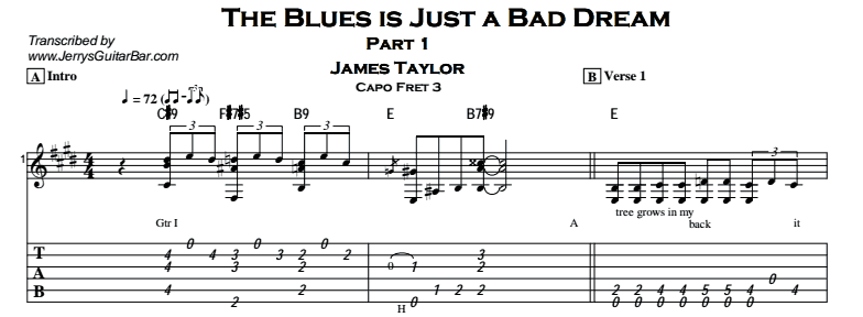 James Taylor – The Blues is Just a Bad Dream Tab