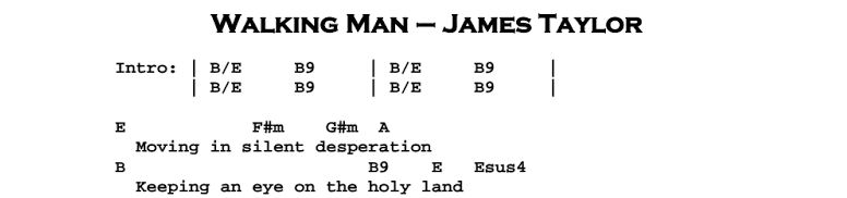 James Taylor - Walking Man Chords & Songsheet