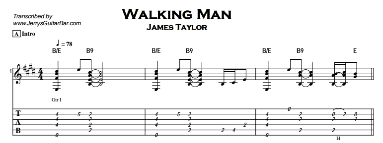 James Taylor - Walking Man Tab