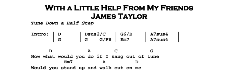 James Taylor – With a Little Help From My Friends Chords & Songsheet