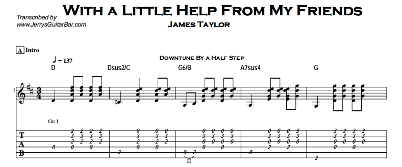James Taylor – With a Little Help From My Friends Tab