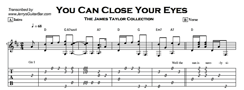 You Can Close Your Eyes |Guitar Lesson, Tab & Chords | JGB