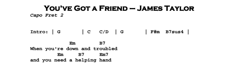 James Taylor - You've Got a Friend Chords & Songsheet