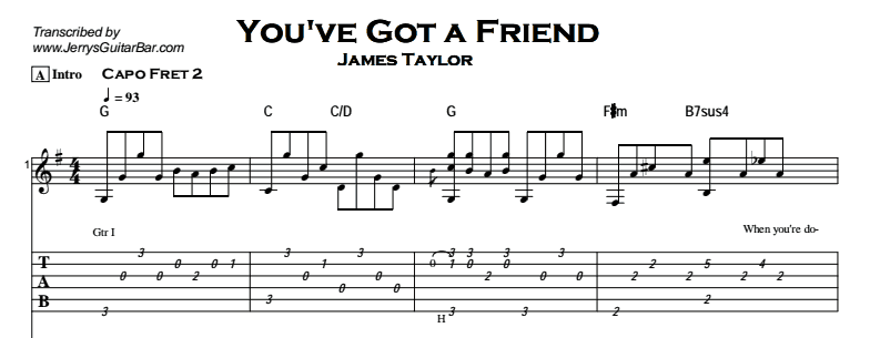 James Taylor - You've Got a Friend Tab