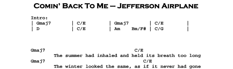 Jefferson Airplane – Comin' Back To Me Chords & Songsheet